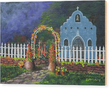 Colorful Welcome Wood Print by Jerry McElroy