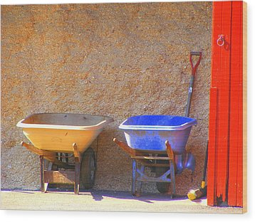 Colorful Wheelbarrows Wood Print by Margie Avellino