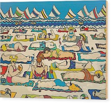 Colorful Whimsical Beach Seashore Women Men Wood Print