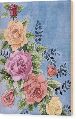 Colorfull Roses Wood Print