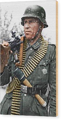 Colorized Ww2 German Mg'er Wood Print by John Wills