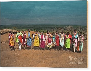 Wood Print featuring the photograph Colors And Faces Of The Masai Mara by Karen Lewis