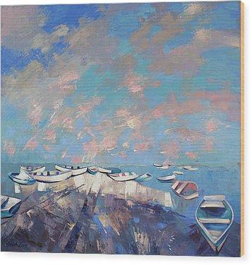 Wood Print featuring the painting Colors Flamingo by Anastasija Kraineva