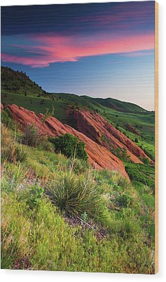 Wood Print featuring the photograph Colors Of A Colorado Spring Sunrise by John De Bord