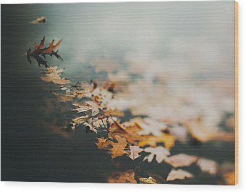 Colors Of Fall Wood Print by Tracy  Jade