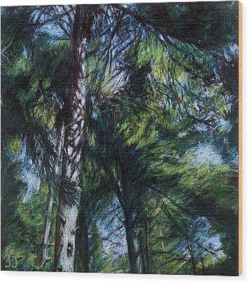 Colors Of Green Wood Print