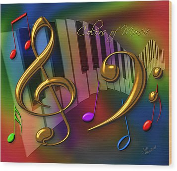Colors Of Music Wood Print by Judi Quelland