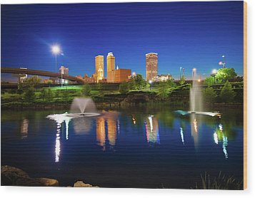 Wood Print featuring the photograph Colors Of Night Tulsa Oklahoma Downtown City Skyline by Gregory Ballos