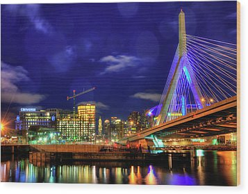 Wood Print featuring the photograph Colors Of The Zakim Bridge - Boston, Ma by Joann Vitali