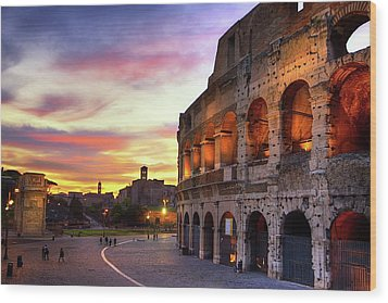 Colosseum At Sunset Wood Print by Christopher Chan
