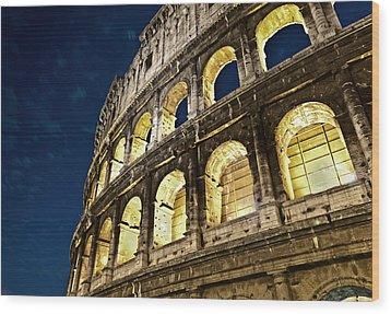 Wood Print featuring the photograph Colosseum by Brian Bonham