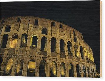 Colosseum Illuminated At Night Wood Print by Sami Sarkis