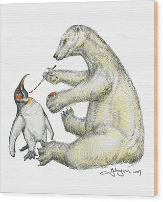 Colour Bear Wood Print by Mark Johnson