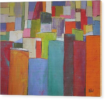 Wood Print featuring the painting Colour Block7 by Chris Hobel