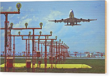 Colourful Take-off Wood Print by Patrick English