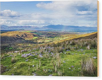 Colourful Undulating Irish Landscape In Kerry  Wood Print by Semmick Photo
