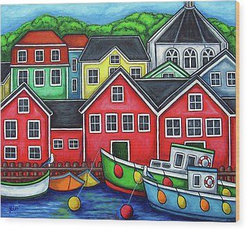 Colours Of Lunenburg Wood Print by Lisa  Lorenz