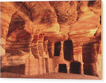 Colours Of Petra Wood Print by Paul Cowan