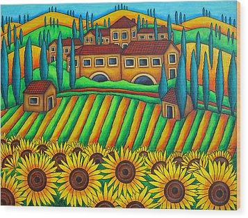 Colours Of Tuscany Wood Print by Lisa  Lorenz