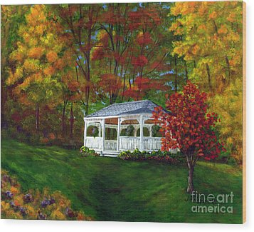 Wood Print featuring the painting Colton Gazebo by Judy Filarecki