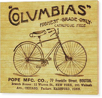 Wood Print featuring the mixed media Columbia Bicycle Vintage Poster On Wood by Dan Sproul