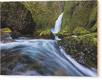 Wood Print featuring the photograph Columbia Cascade by Mike Lang