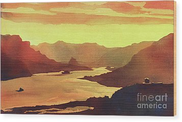 Wood Print featuring the painting Columbia Gorge Scenery by Ryan Fox