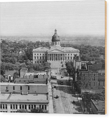 Columbia South Carolina - State Capitol Building - C 1905 Wood Print by International  Images