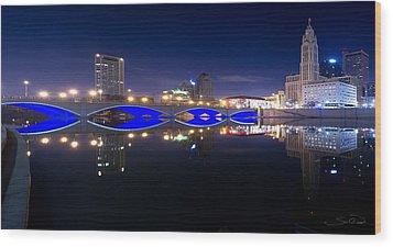 Columbus Oh Blue Bridge Reflections Wood Print by Shane Psaltis