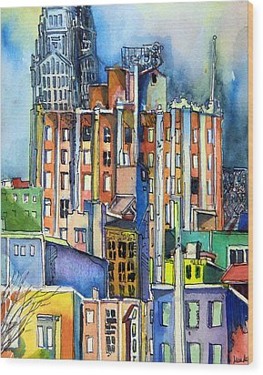 Columbus Ohio City Lights Wood Print by Mindy Newman