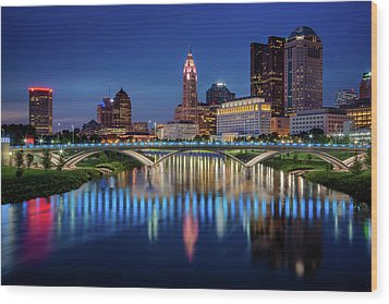 Wood Print featuring the photograph Columbus Ohio Skyline At Night by Adam Romanowicz
