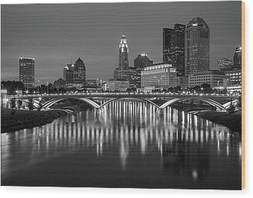 Wood Print featuring the photograph Columbus Ohio Skyline At Night Black And White by Adam Romanowicz