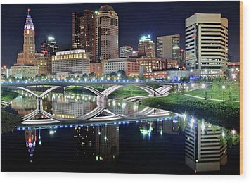 Columbus Over The Scioto Wood Print by Frozen in Time Fine Art Photography