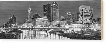 Wood Print featuring the photograph Columbus Skyline Panorama Black And White - Ohio Usa by Gregory Ballos