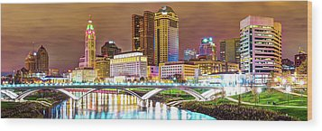 Wood Print featuring the photograph Columbus Skyline Panorama Color - Ohio Usa by Gregory Ballos