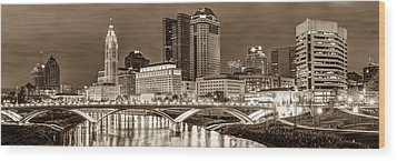 Wood Print featuring the photograph Columbus Skyline Panorama Sepia - Ohio Usa by Gregory Ballos