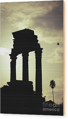 Column Sunset Temple Of Castor And Pollux In The Forum Rome Italy Wood Print by Andy Smy