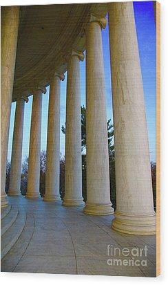 Columns At Jefferson Wood Print