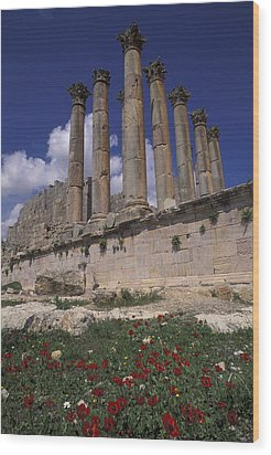 Columns In The Ancient Roman City Wood Print by Richard Nowitz