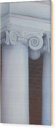 Columns Of Davidson Hall Wood Print by Mary Rogers