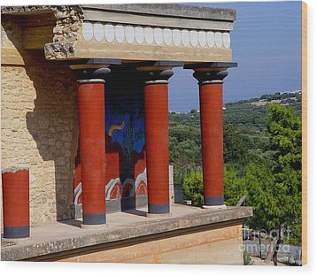 Wood Print featuring the photograph Columns Of Knossos Greece by Nancy Bradley