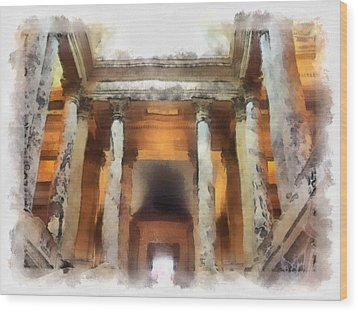 Columns Wood Print by Paulette B Wright