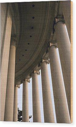 Columns Surround The Jefferson Statue Wood Print by Rex A. Stucky