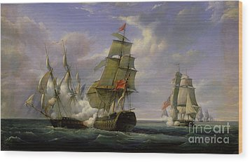 Combat Between The French Frigate La Canonniere And The English Vessel The Tremendous Wood Print by Pierre Julien Gilbert