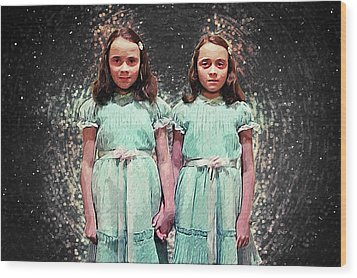 Wood Print featuring the digital art Come Play With Us - The Shining Twins by Taylan Apukovska