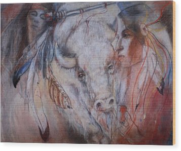 Coming Of The White Buffalocalf Wood Print