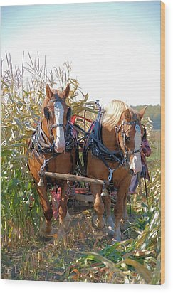 Coming Through The Corn Wood Print by Valerie Kirkwood
