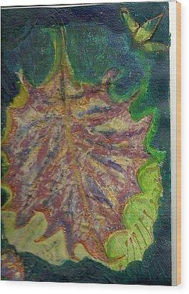 Coming To Me Floating Leaf  Wood Print by Anne-Elizabeth Whiteway