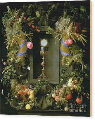 Communion Cup And Host Encircled With A Garland Of Fruit Wood Print by Jan Davidsz de  Heem