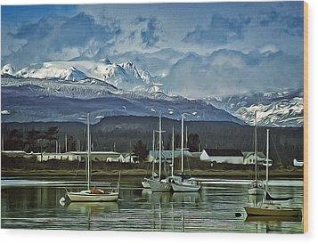 Comox Glacier Overlooking Comox Harbor Wood Print